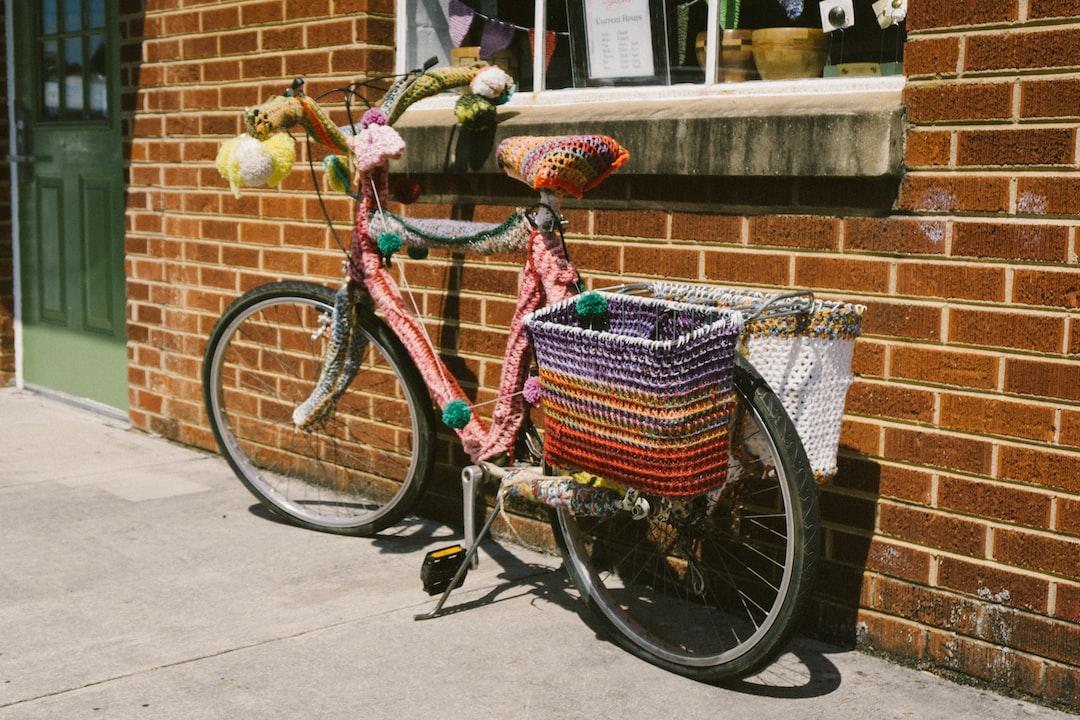 Colorful yarn on bike