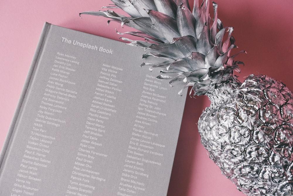 silver pineapple near The Unsplash Book