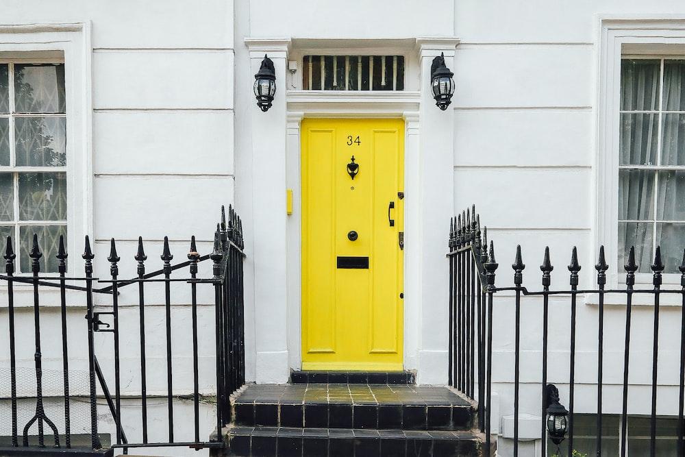 closed yellow door
