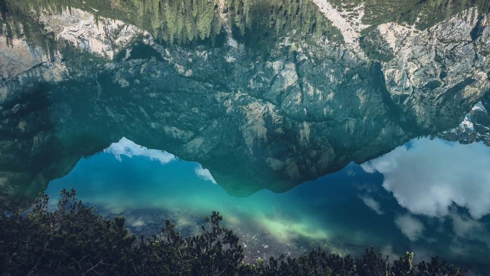 photo of mountain reflecting on body of water