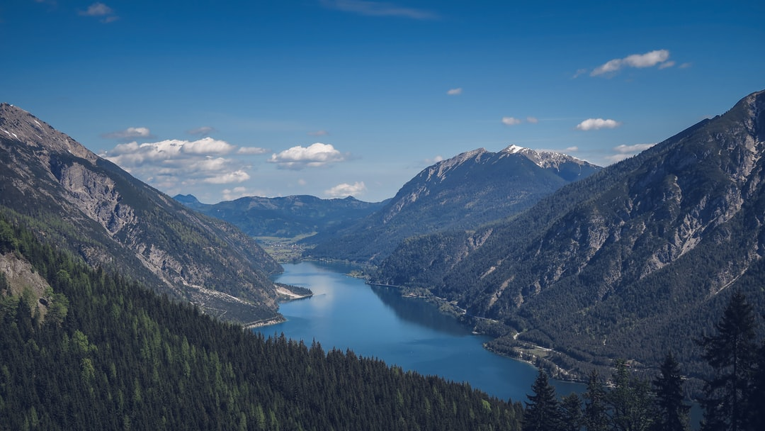 Mountain lake in a valley