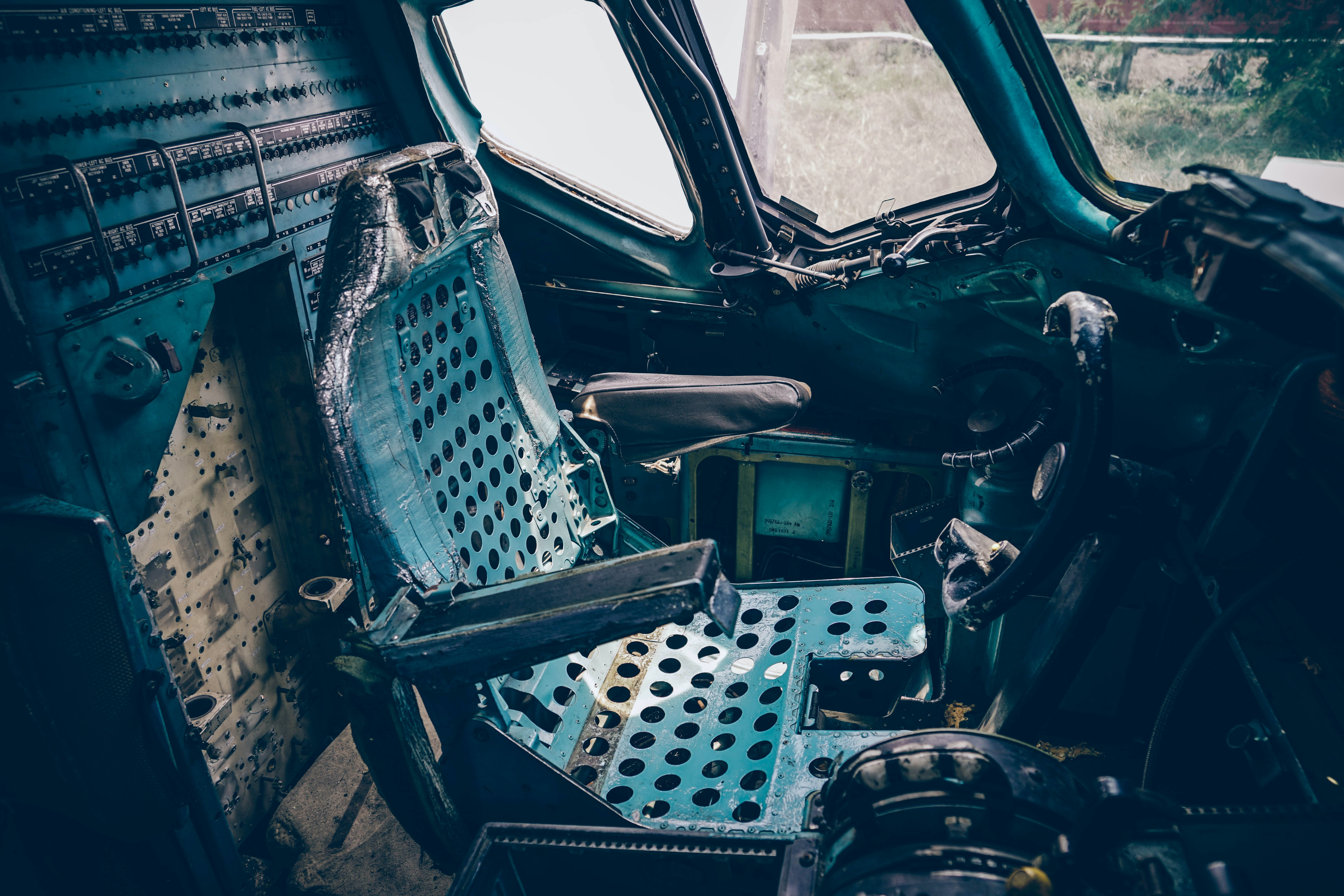 Seat inside a stripped car in Bangkok