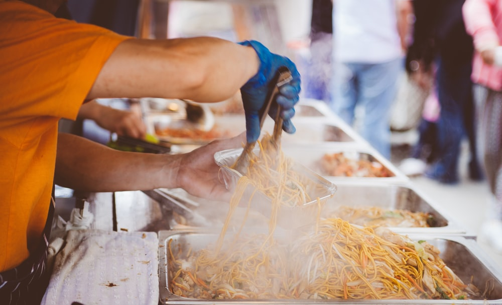 A man serving street food in Letchworth Garden City