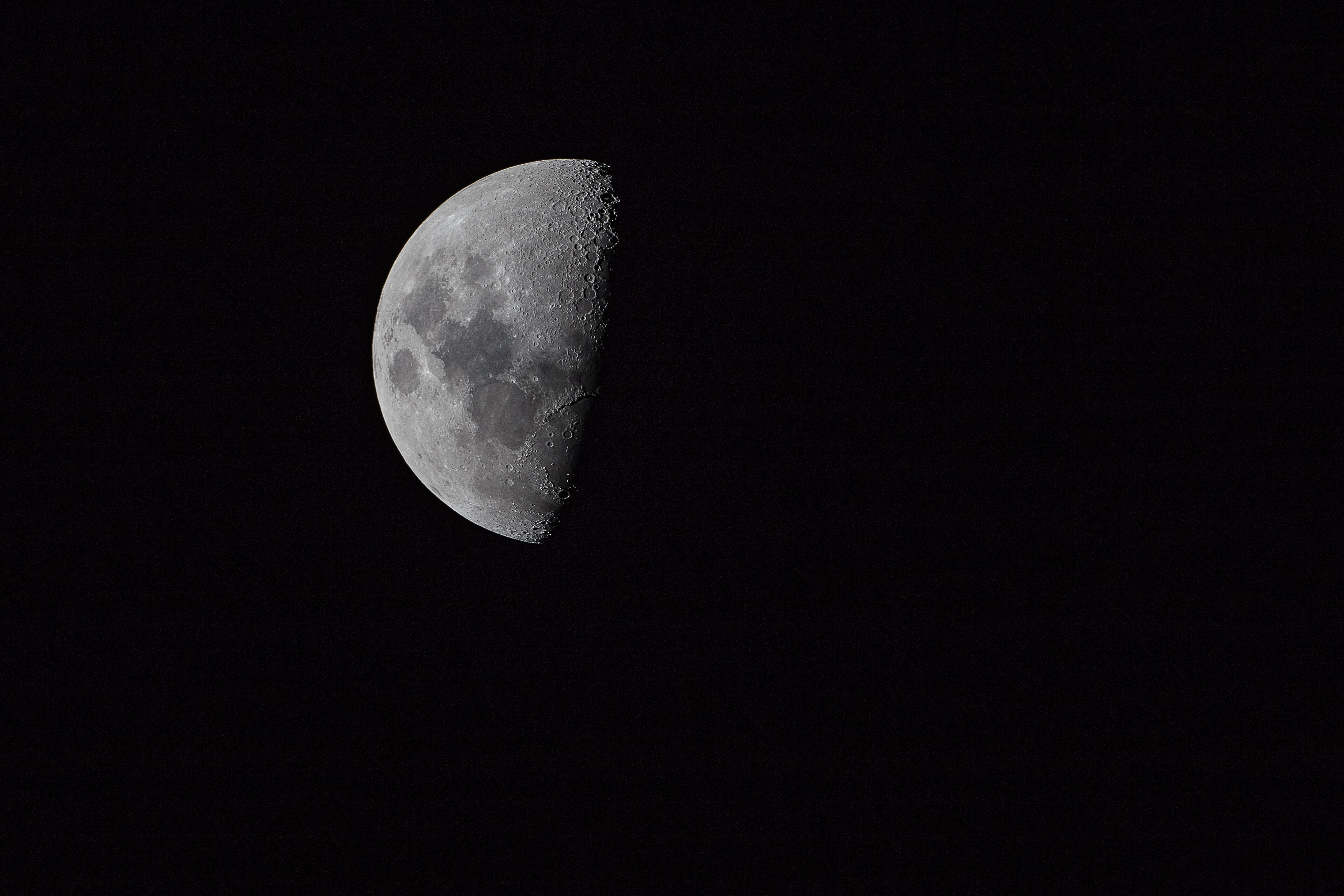 Close up shot of the half moon over The Hague