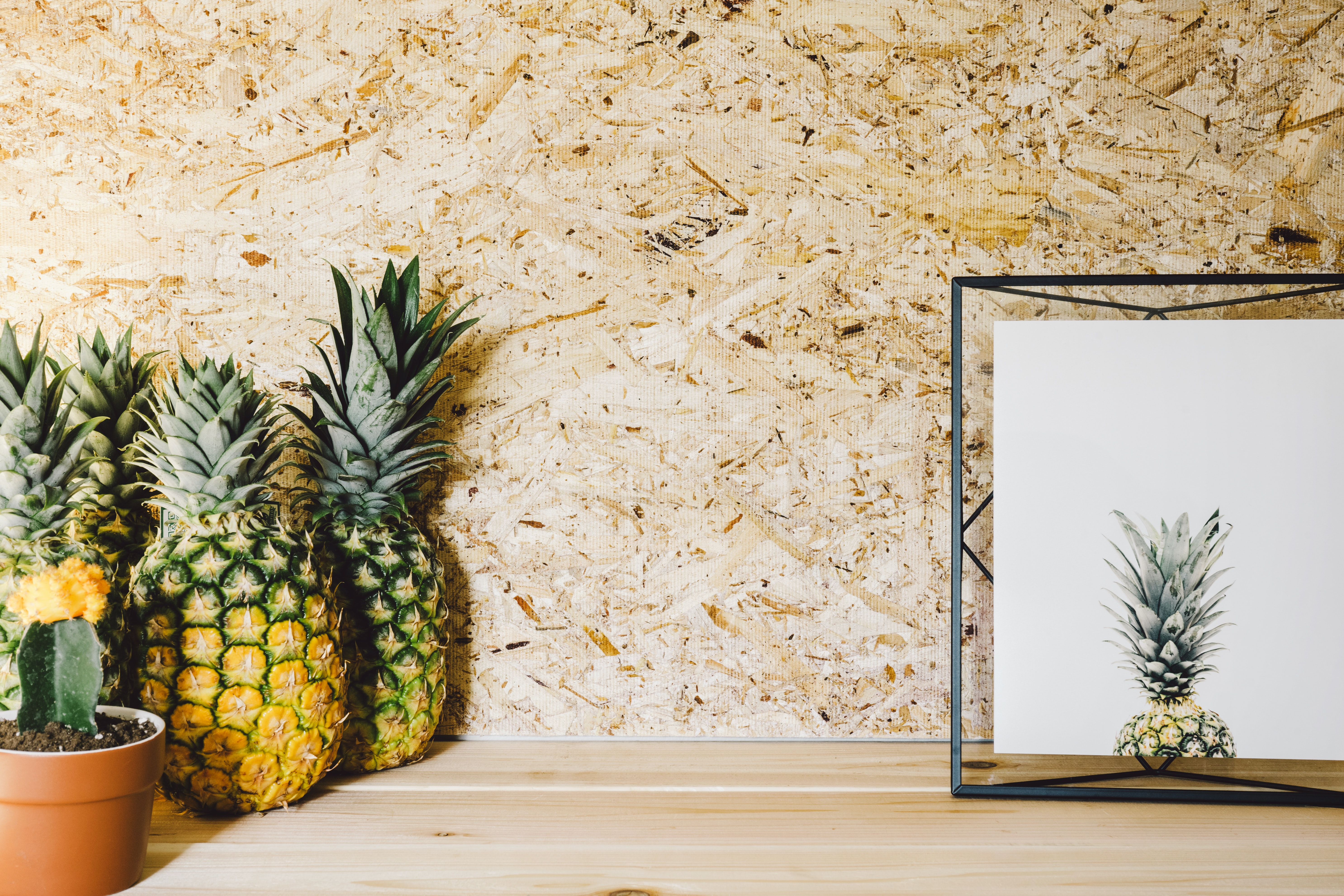 A group of pineapples next to a cactus plant and picture frame.