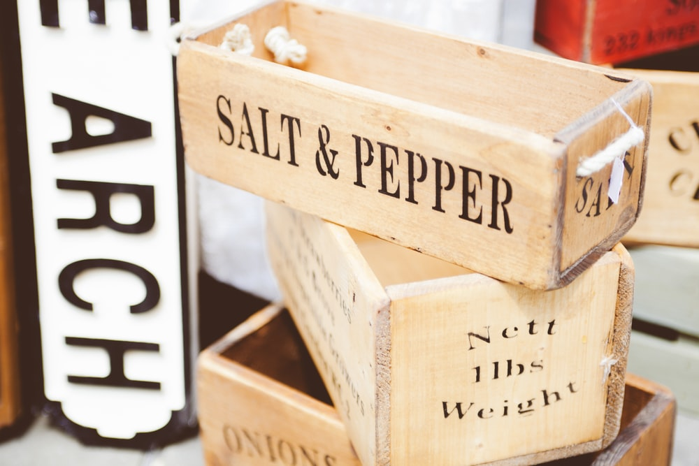brown wooden salt & pepper container