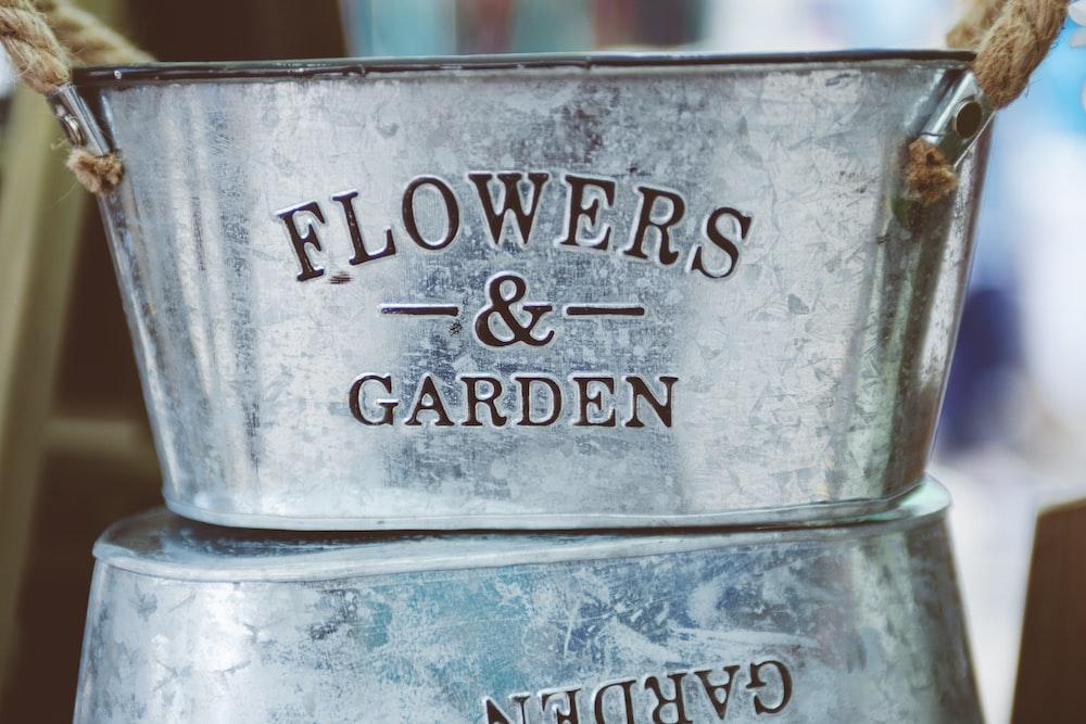 gray Flowers & Garden bucket