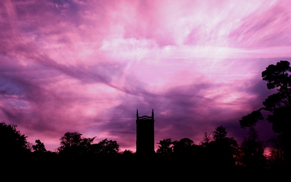 silhouette photo of trees and building under purple sky at daytime