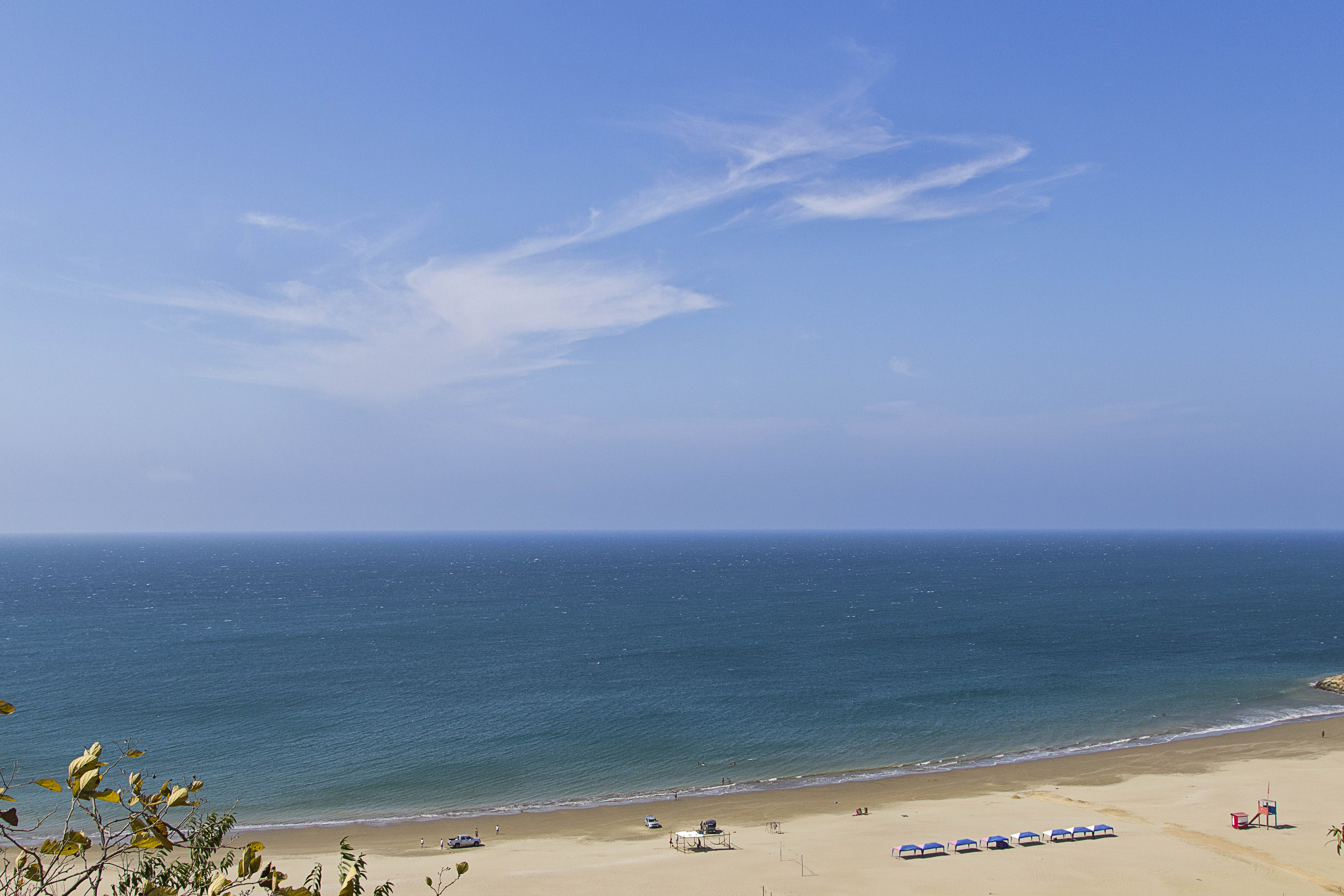 Cool view of the blue tranquil ocean and clear cloud at Santa Marianita beach