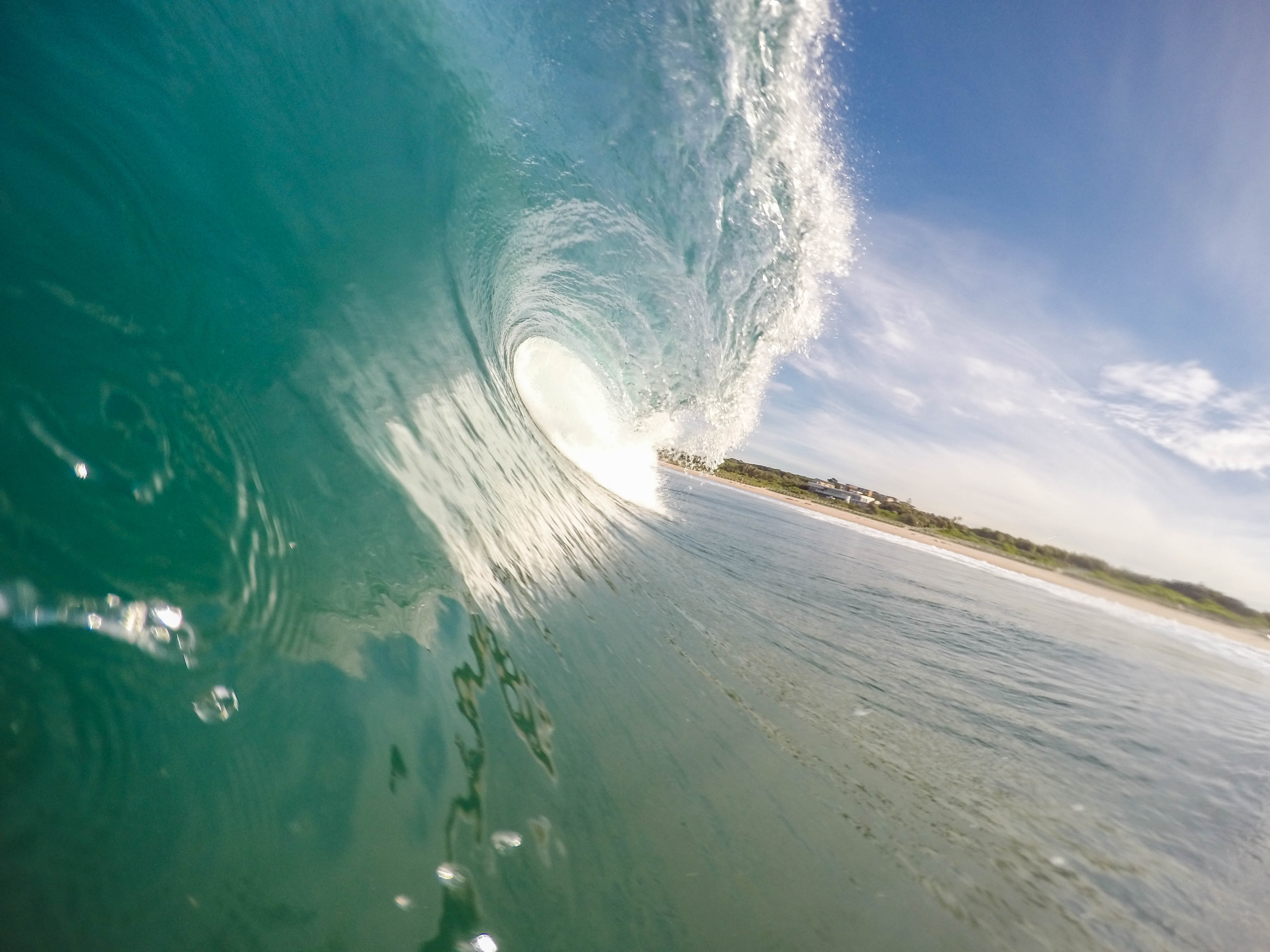 A close up view of a clear wave.