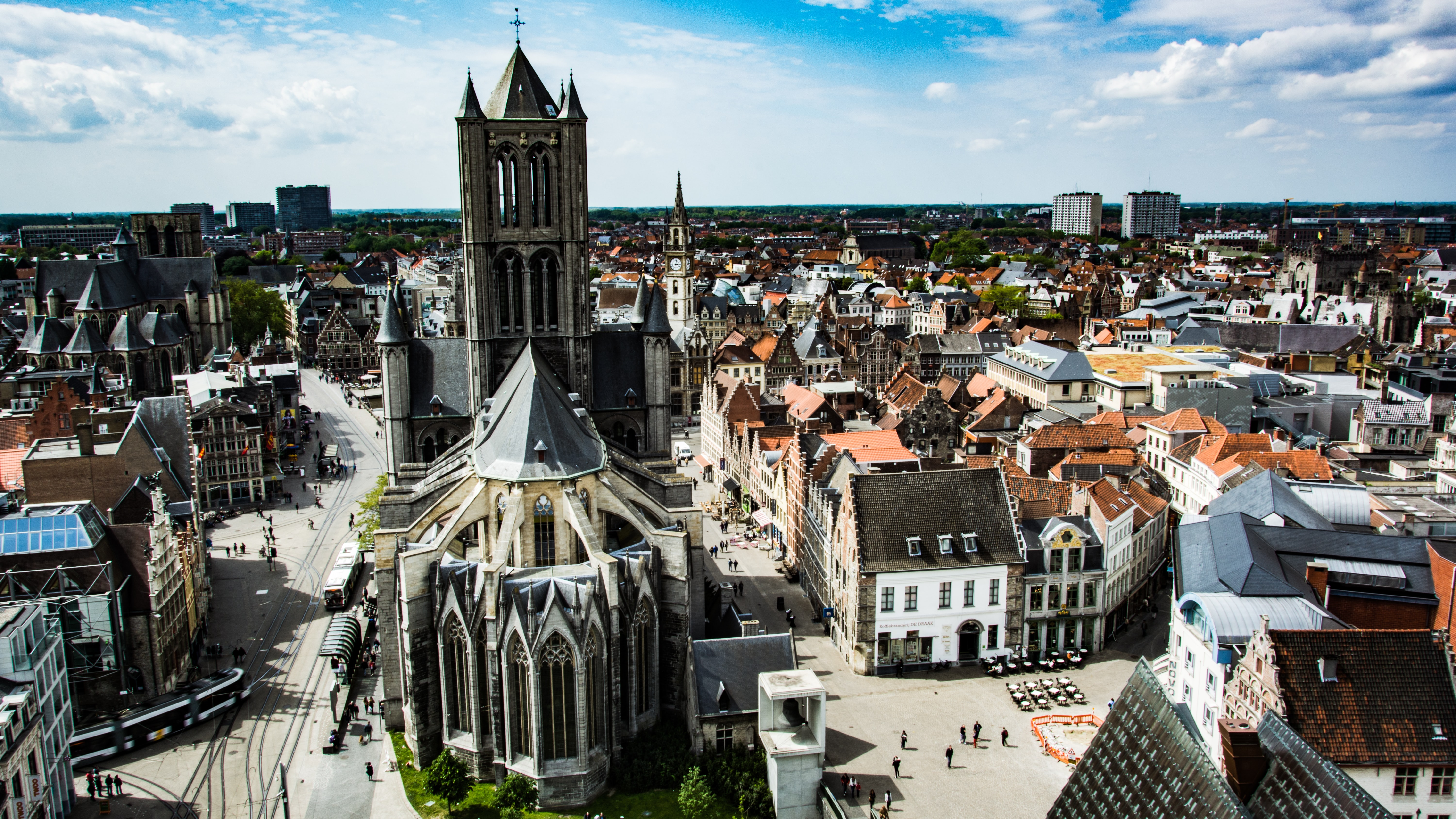 A shot from above the cathedral and architecture in the town of Ghent.