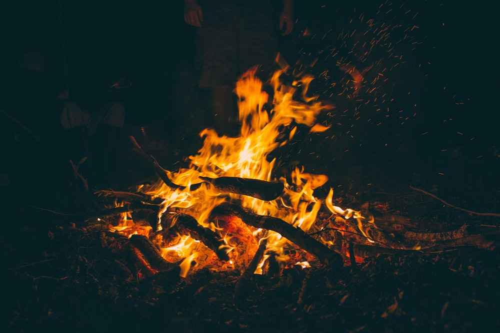 burning firewood at night