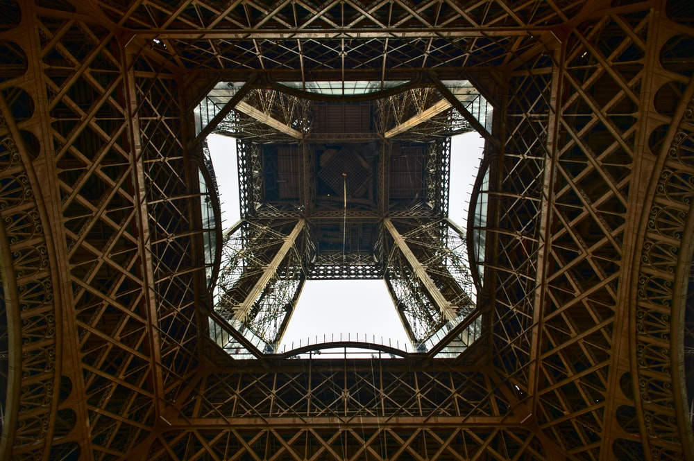 worm's eyeview photo of Eiffel Tower