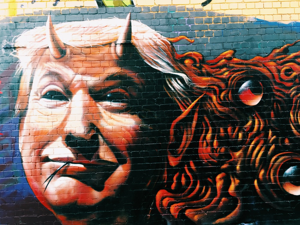 Donald Trump with horns wall mural
