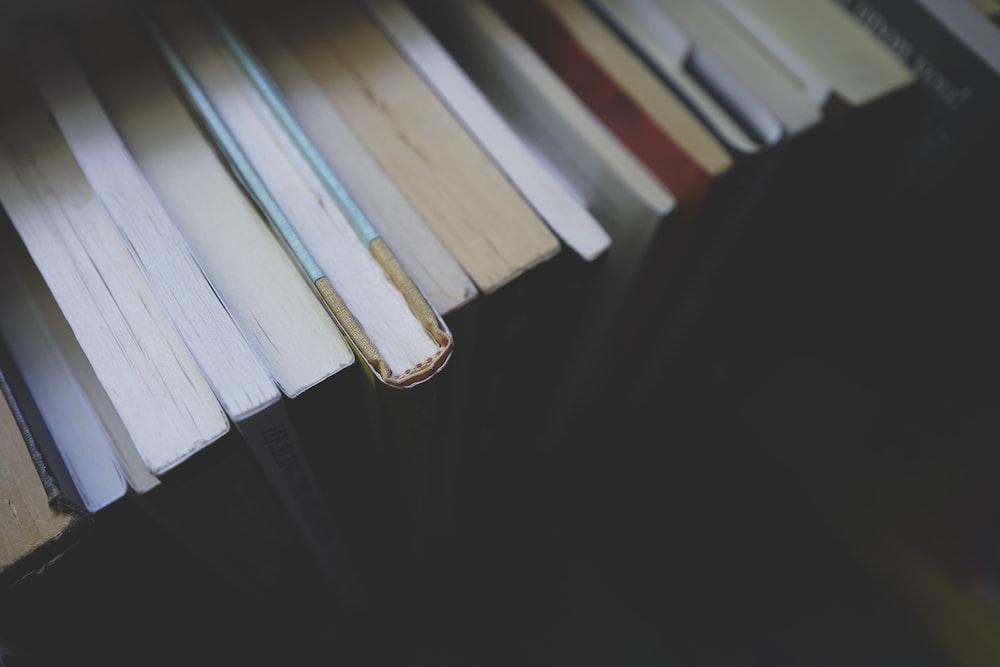 closeup photo of educational book lot