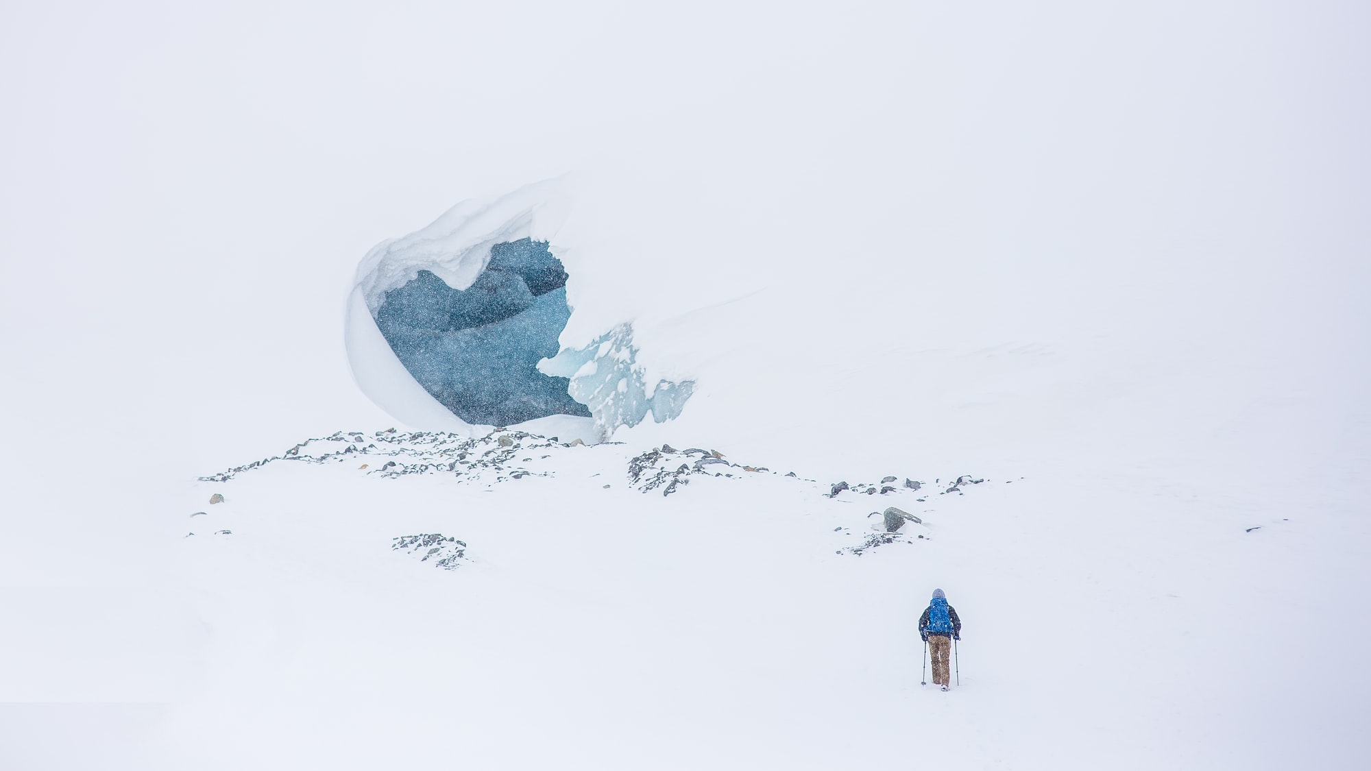 Hiker heading to ice cave