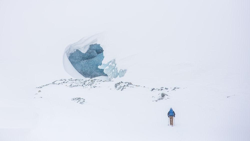 man skiing on mountain top