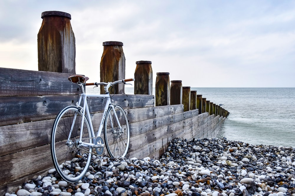 white bicycle at the side of brown wooden dock