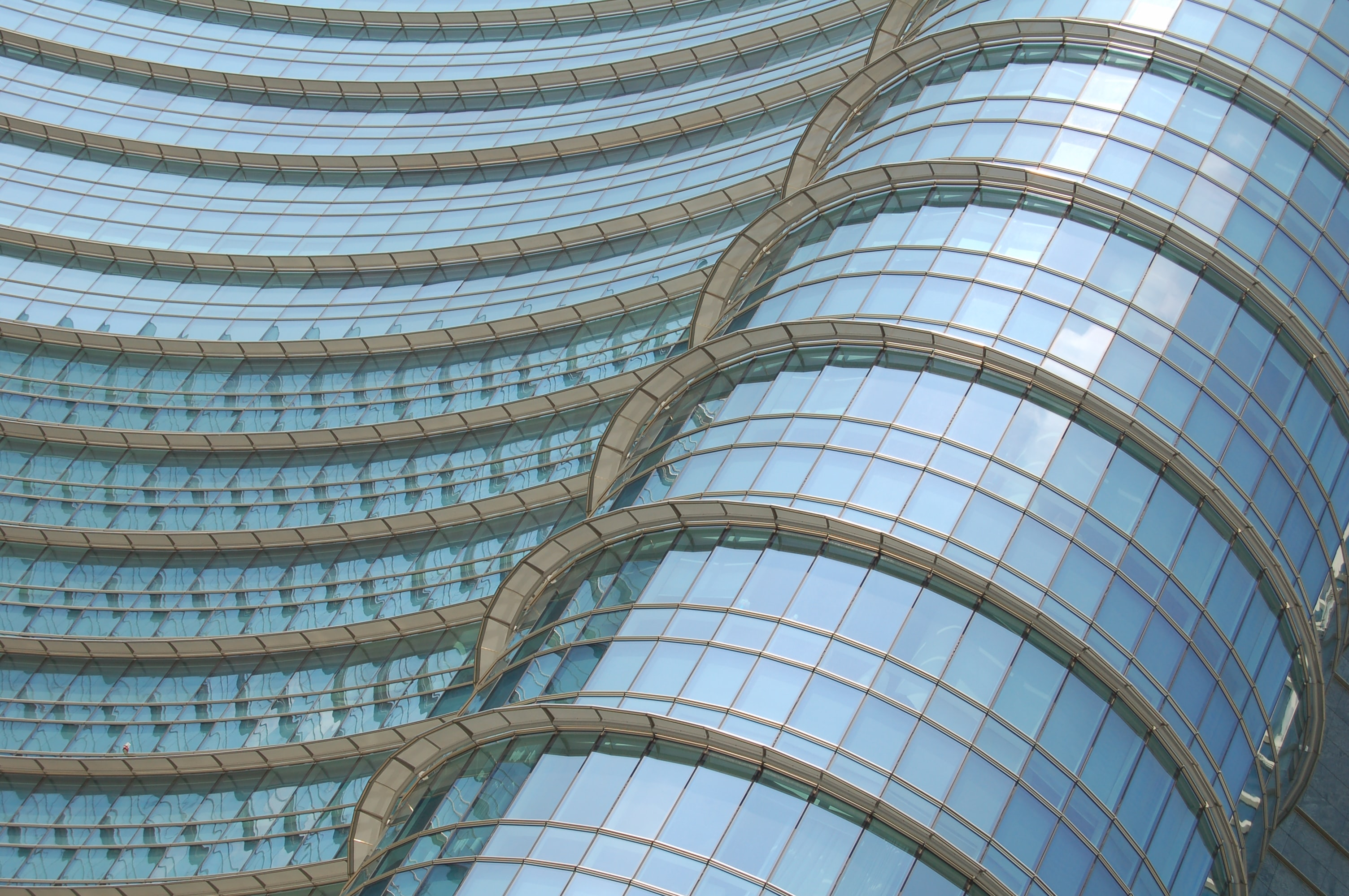 Curved glass facade of a modern building