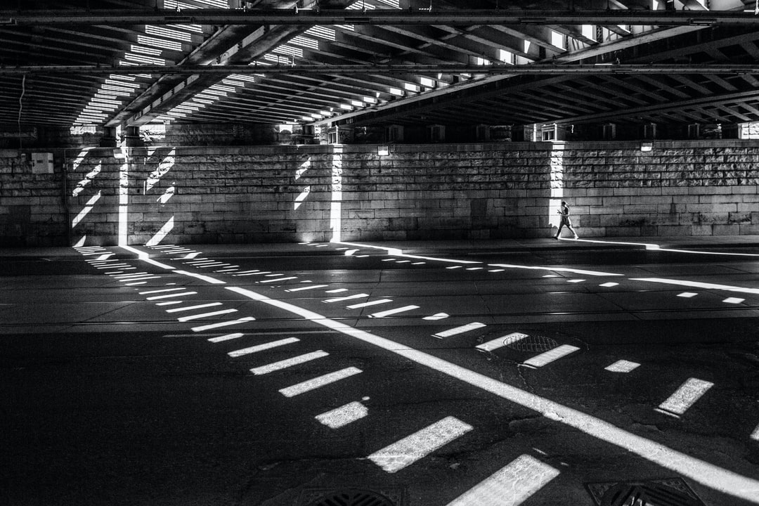 person walks in underpass
