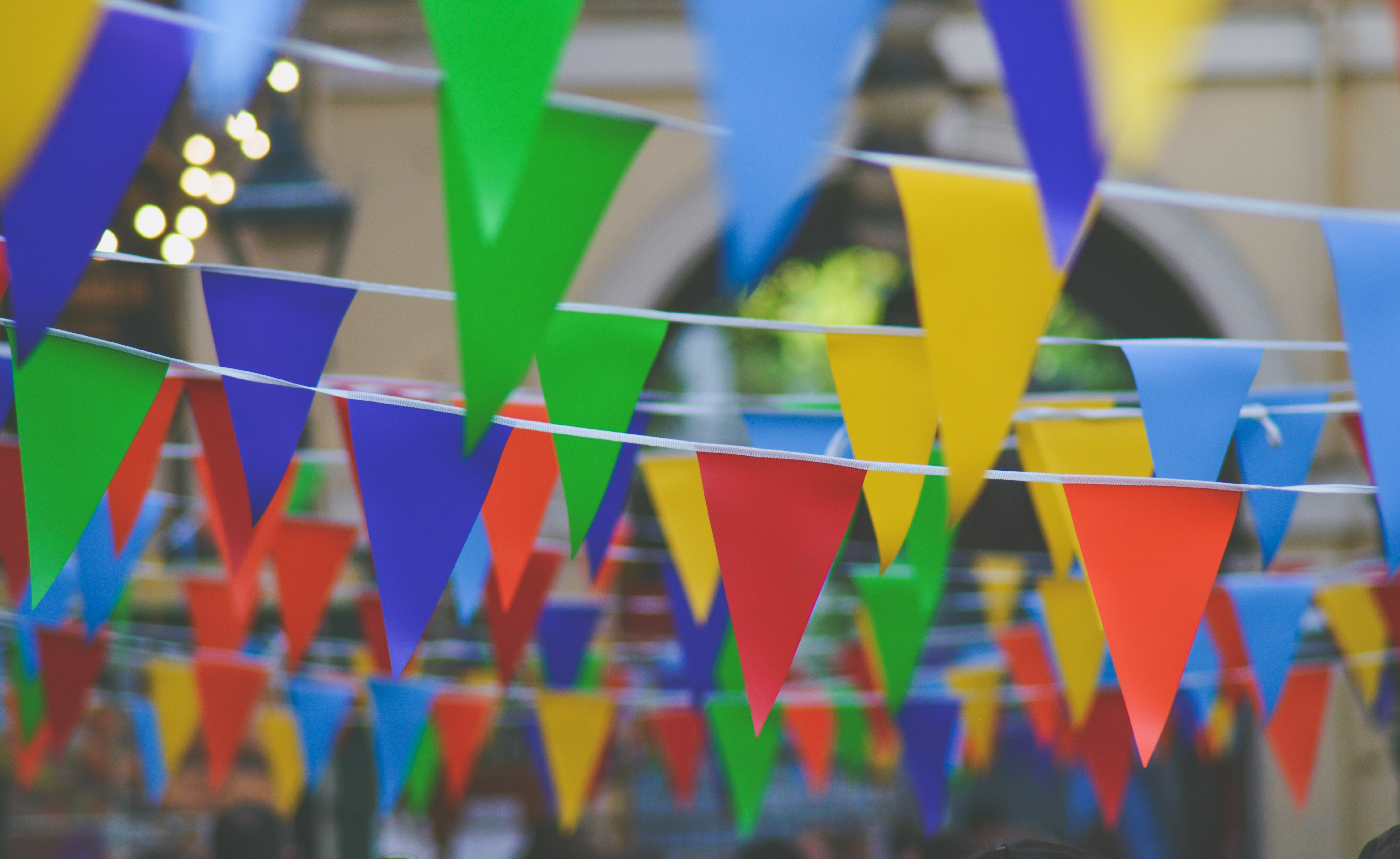 Rainbow colored bunting flags