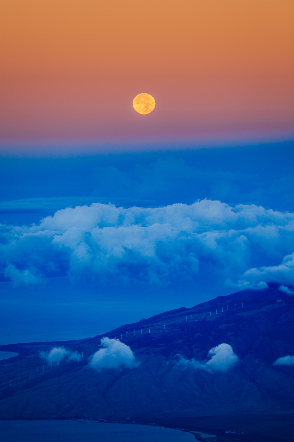 full moon and white clouds