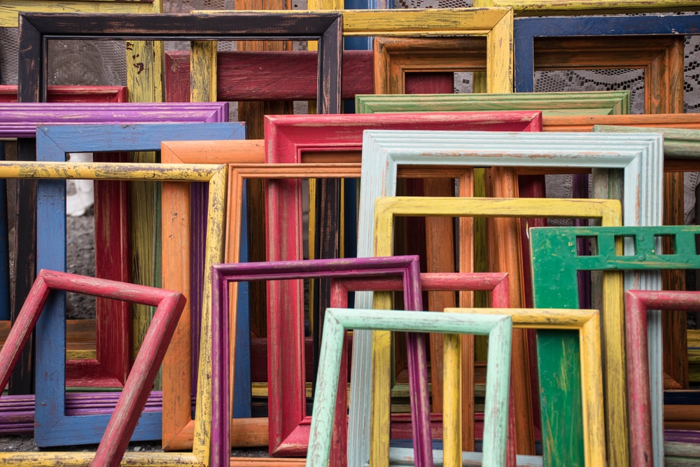 assorted-color wooden frames