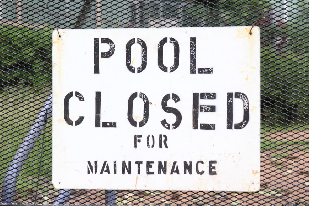 Pool Closed for Maintenance signage