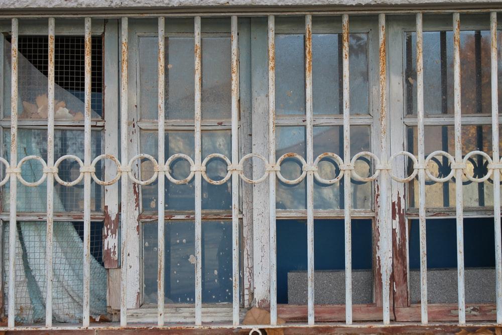 white steel window frame