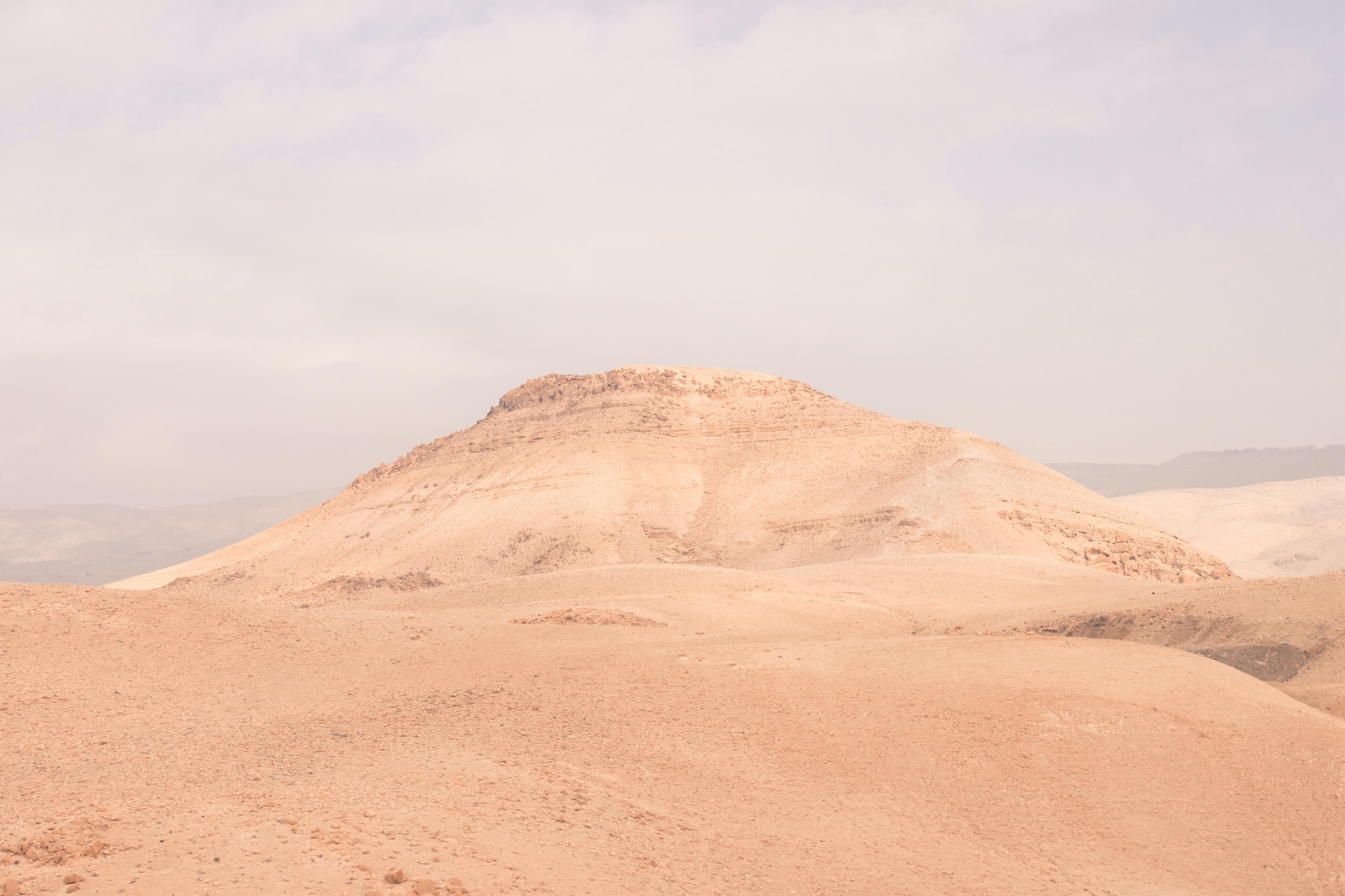 White sand formations in the desert of Jordan