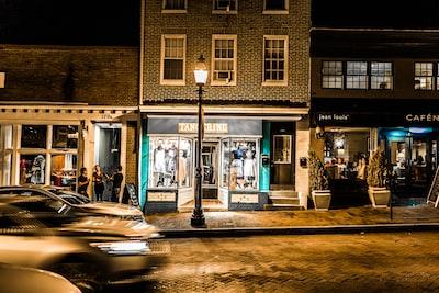 Storefronts at night