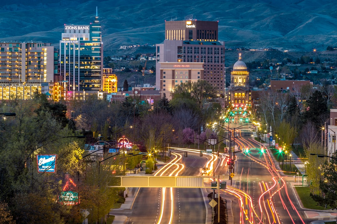 Colorful urban traffic at night
