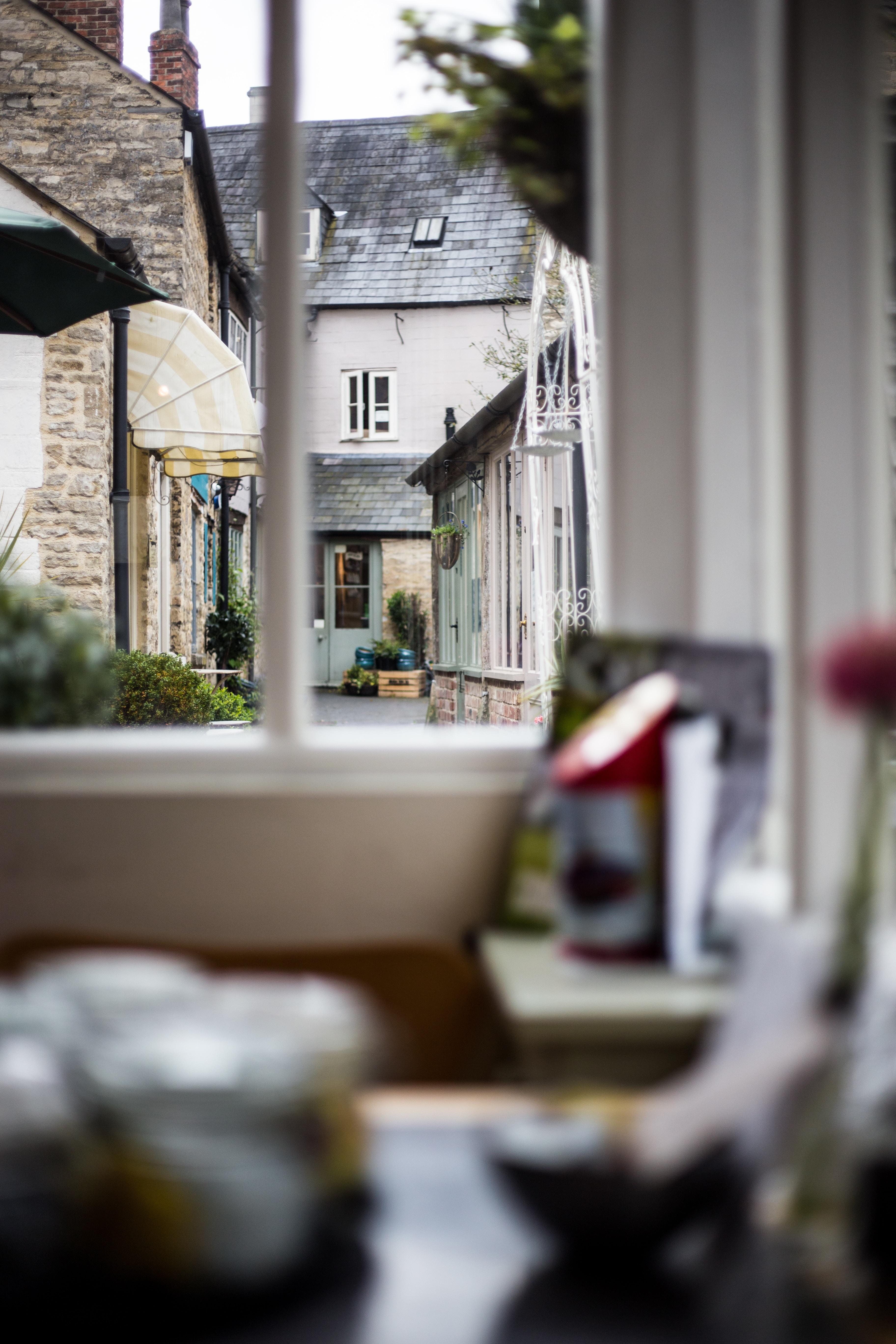 tilt-shift lens photography of window