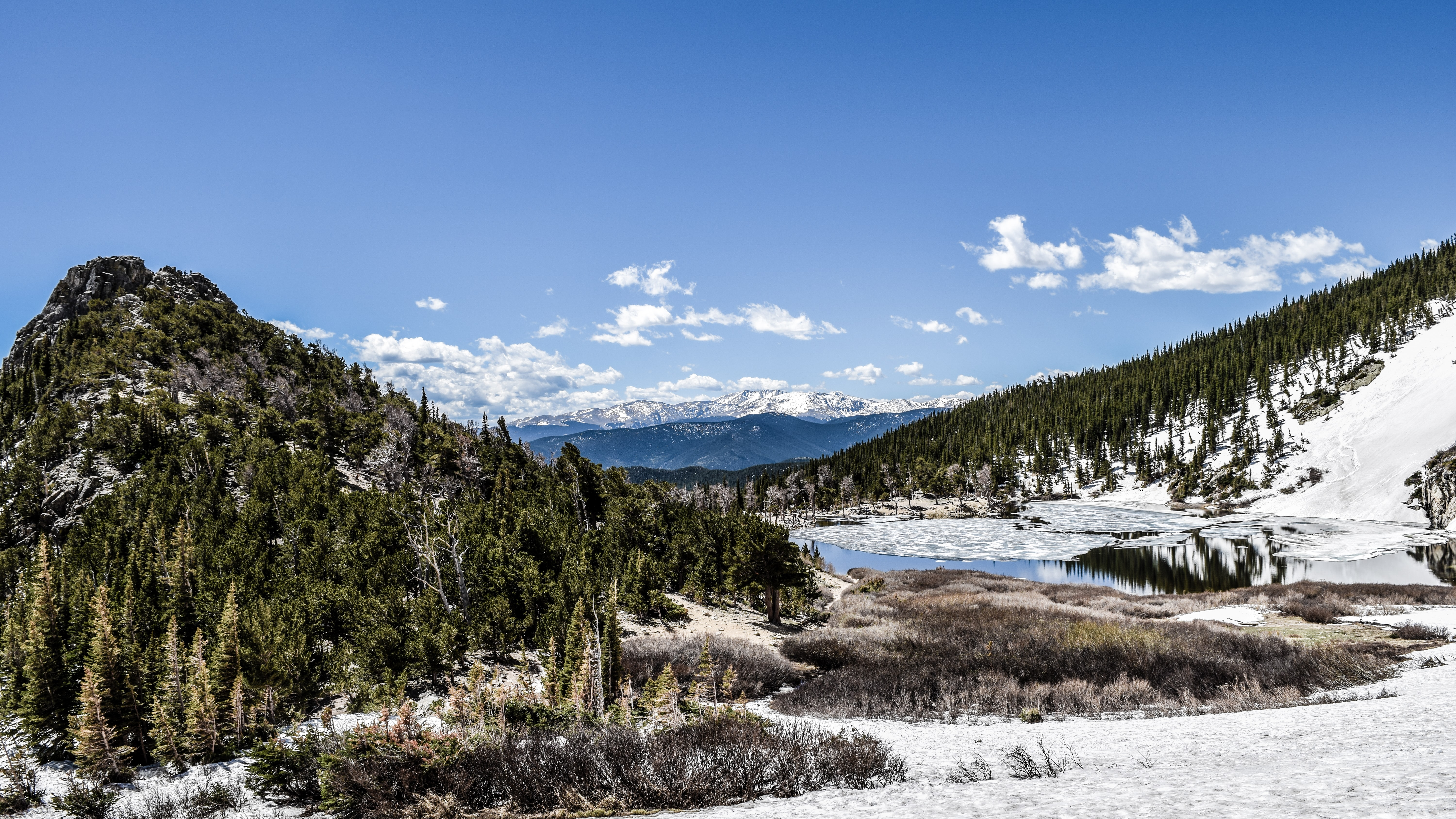 St. Mary's Glacier with its lake, forests and snowy hills