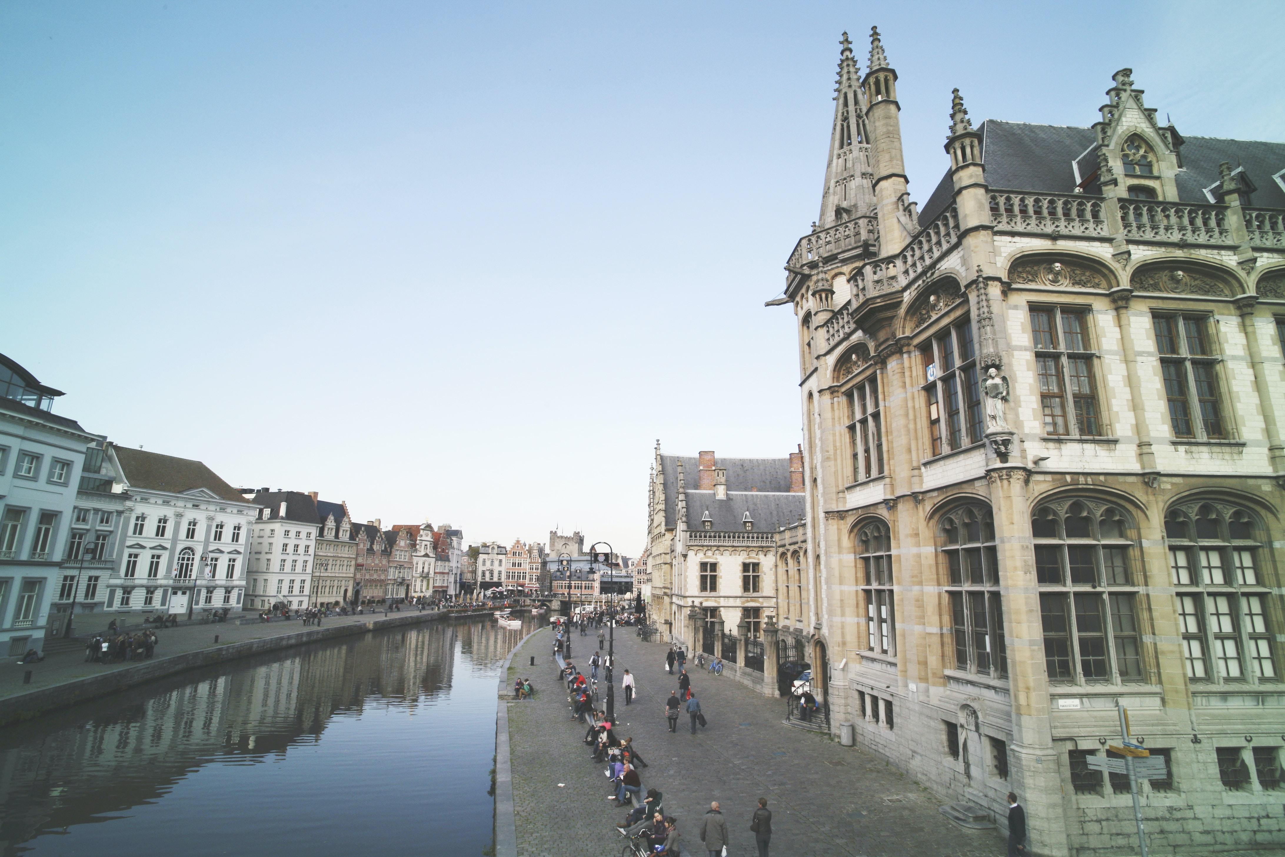 body of water between buildings