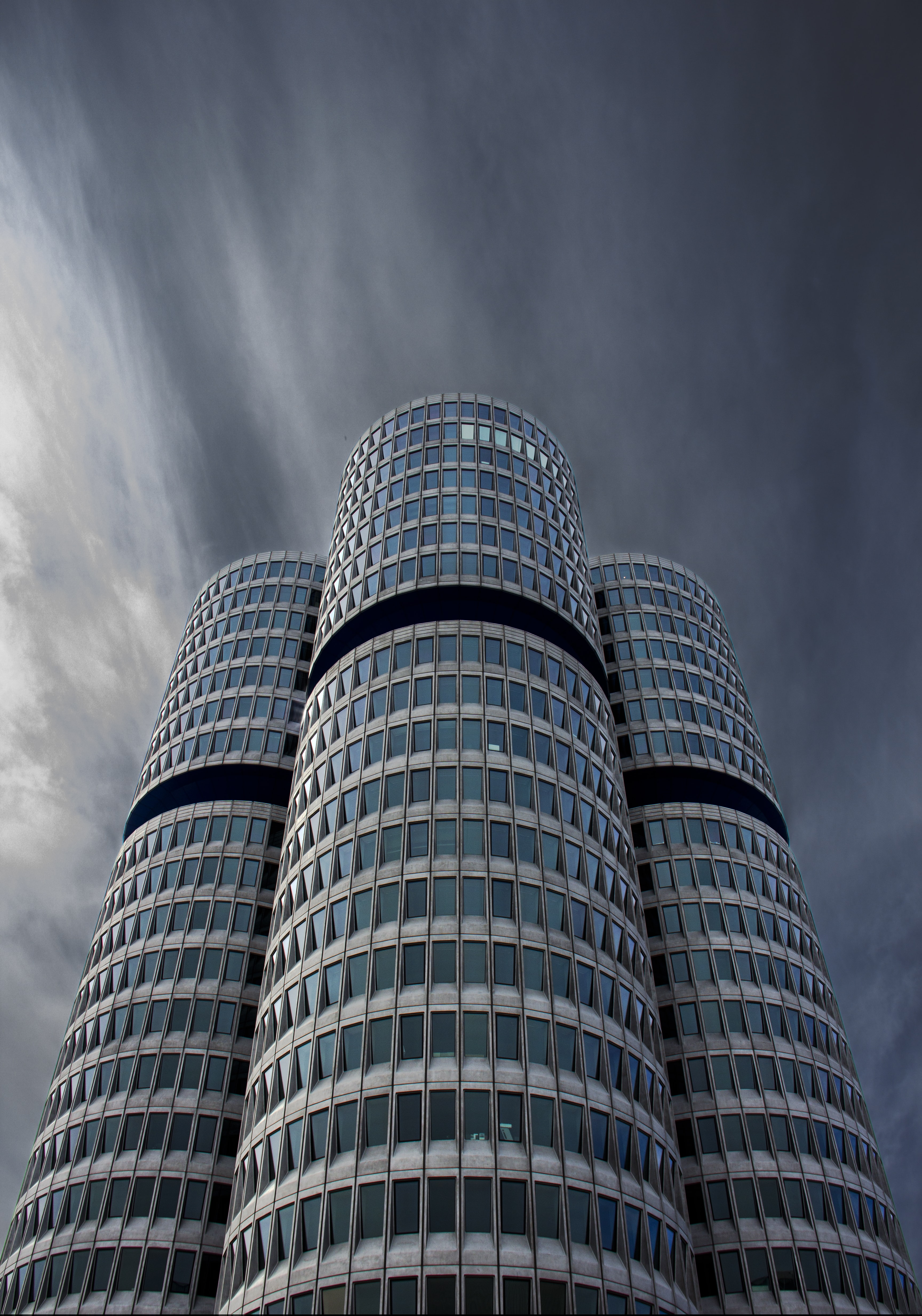 low angle view photography of gray building