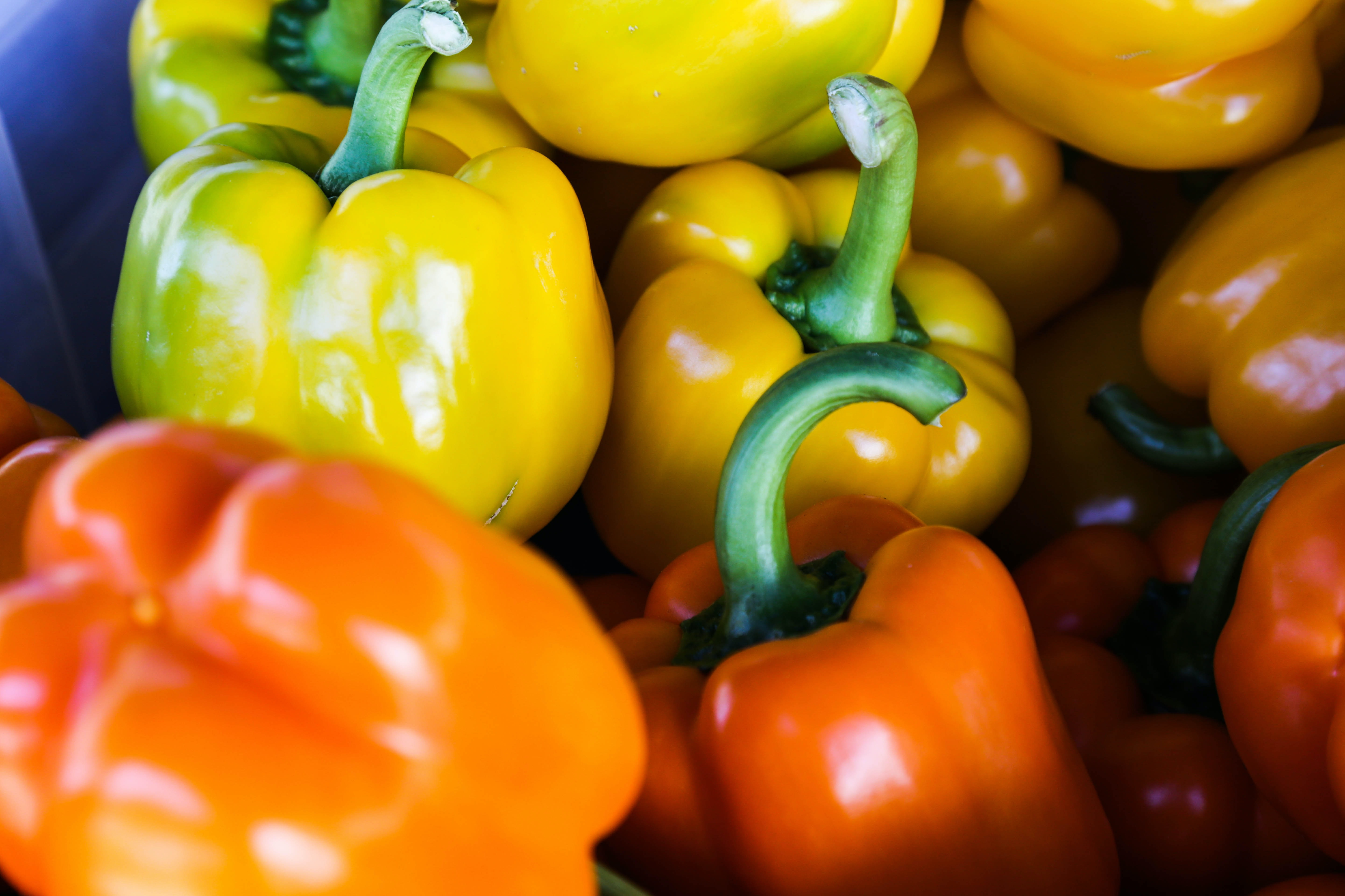 Close-up of yellow and orange bell peppers