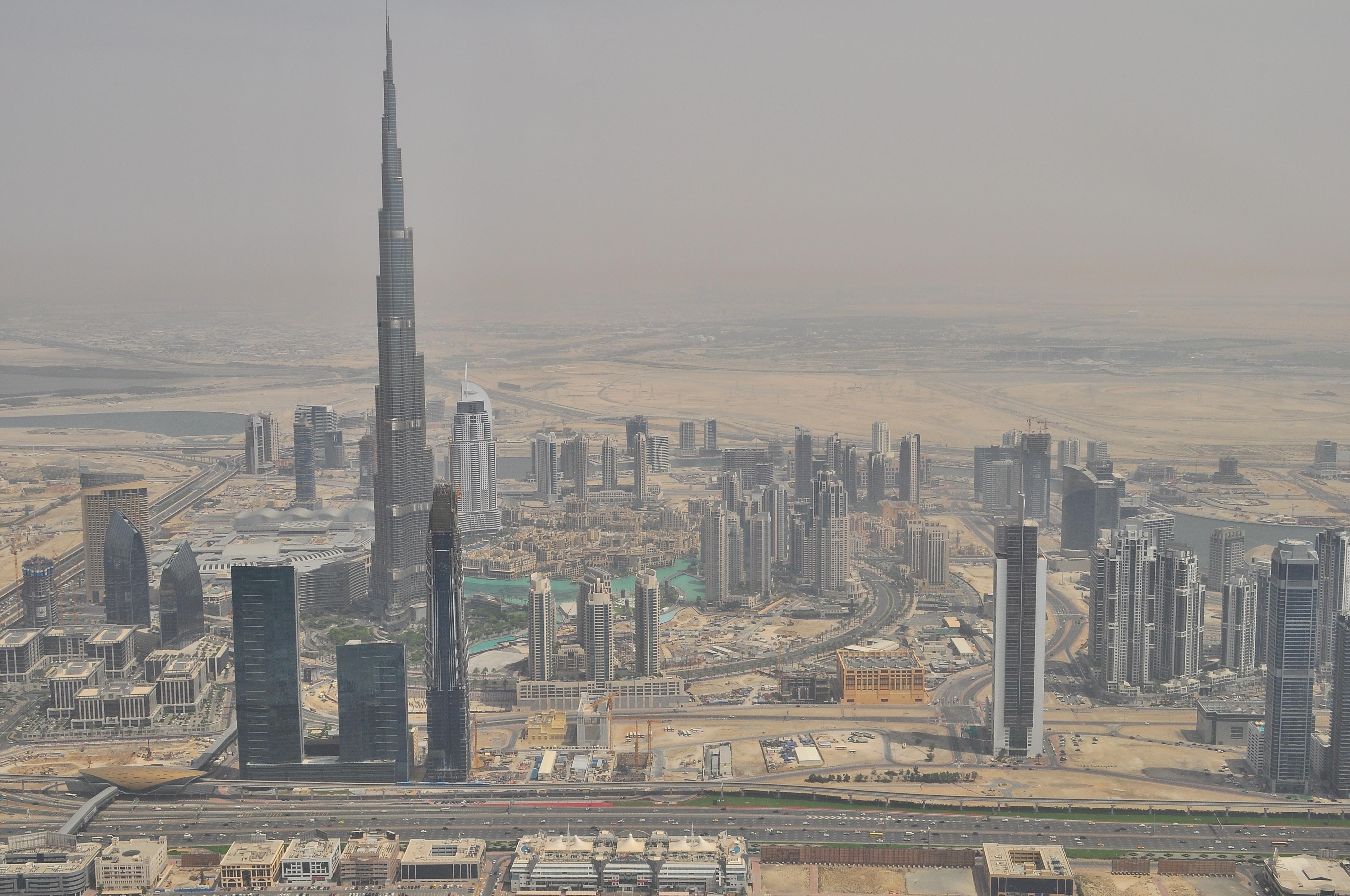 The enormous Burj Khalifa skyscraper in the skyline of Dubai
