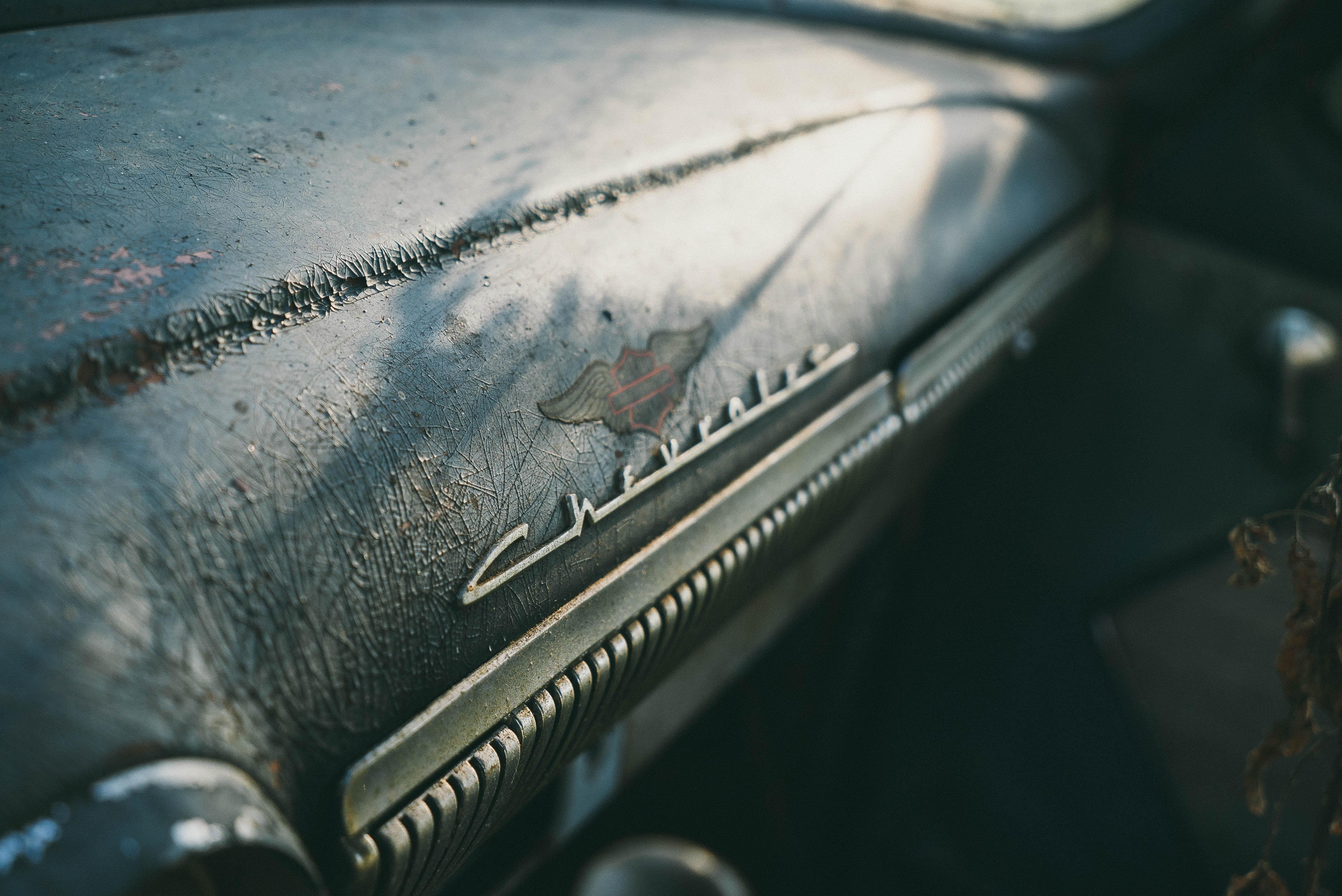 Close-up of vintage Chevrolet badge.