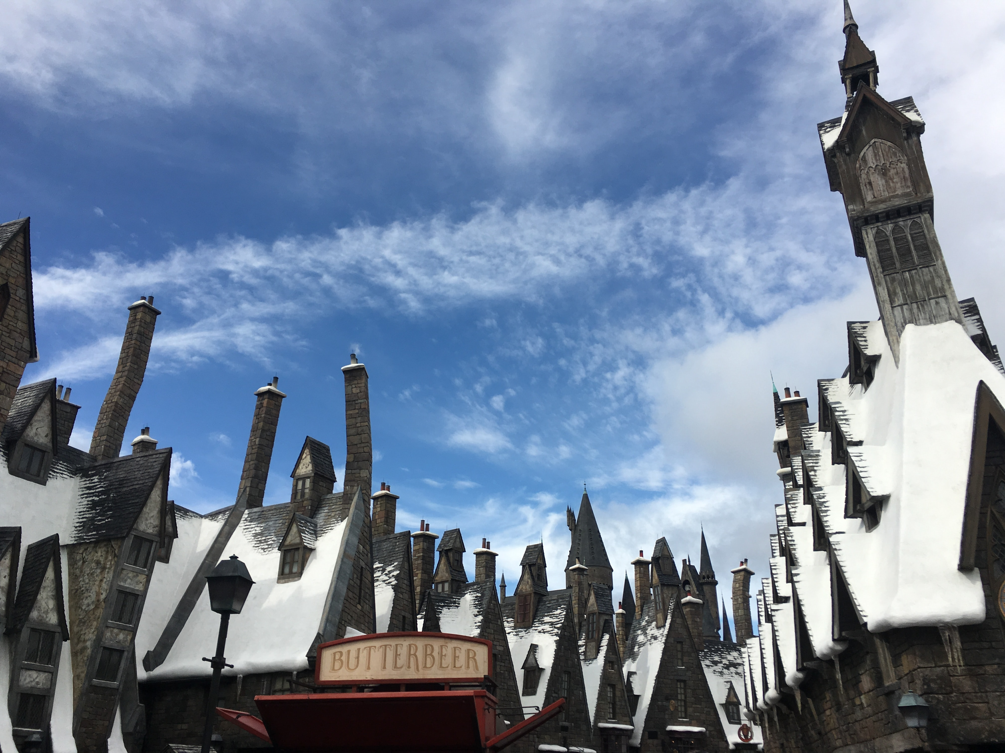 A view of multiple houses with chimneys with butterbeer sign in the middle in Southwest Orlando, Orlando, Florida, United States