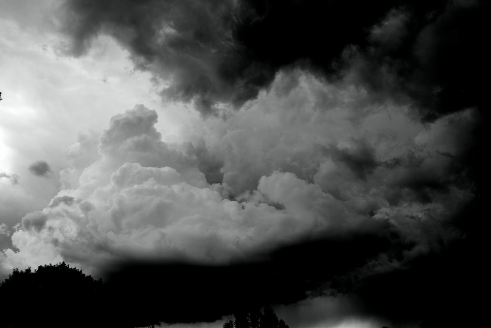 grayscale photography of cloudy sky
