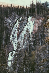 waterfalls surrounded with trees at daytime