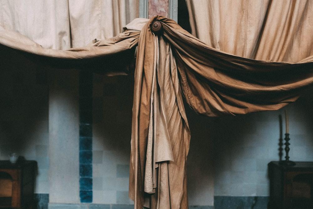 brown window curtains
