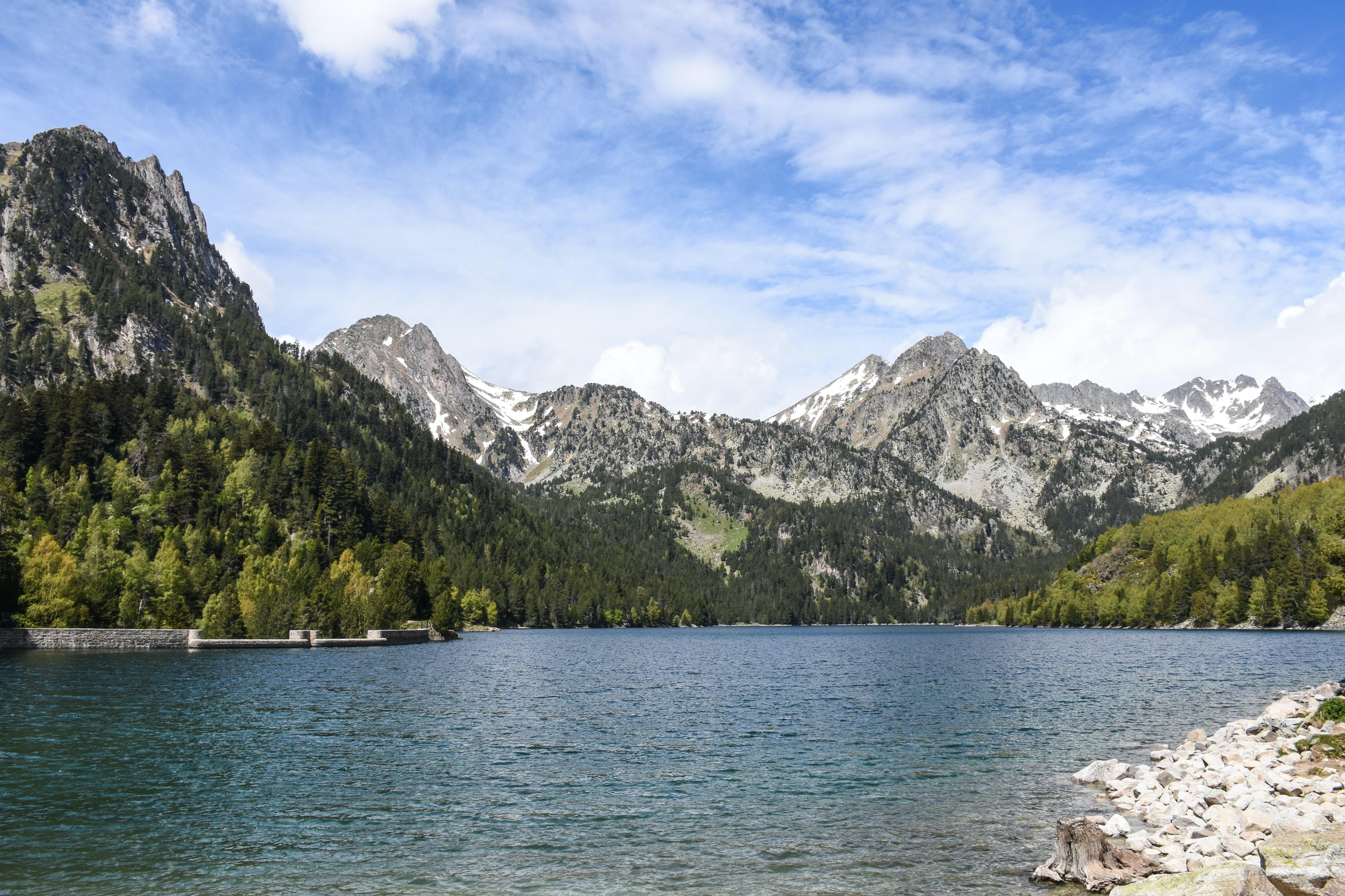 body of water across mountain