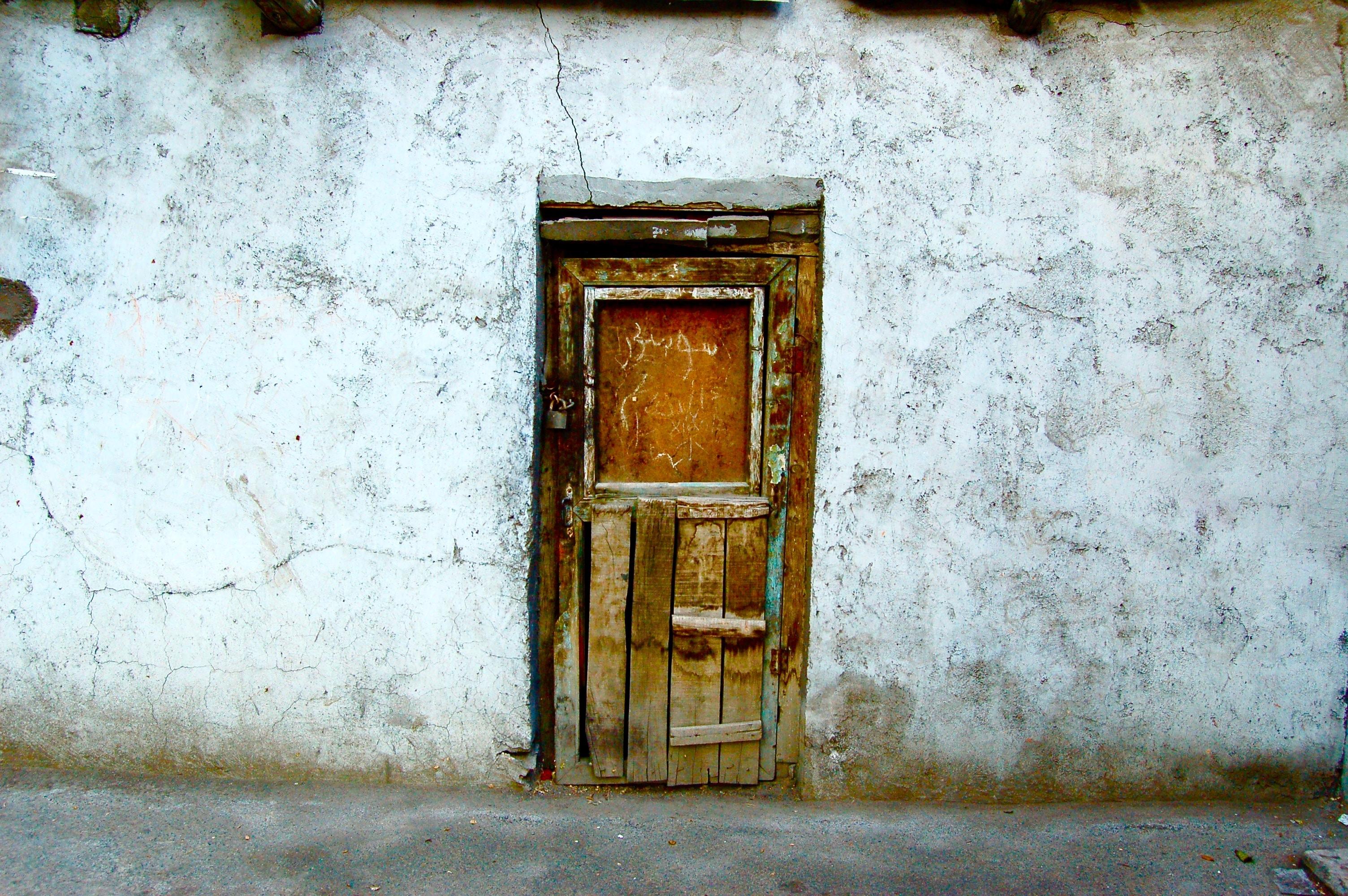 brown wooden closed door