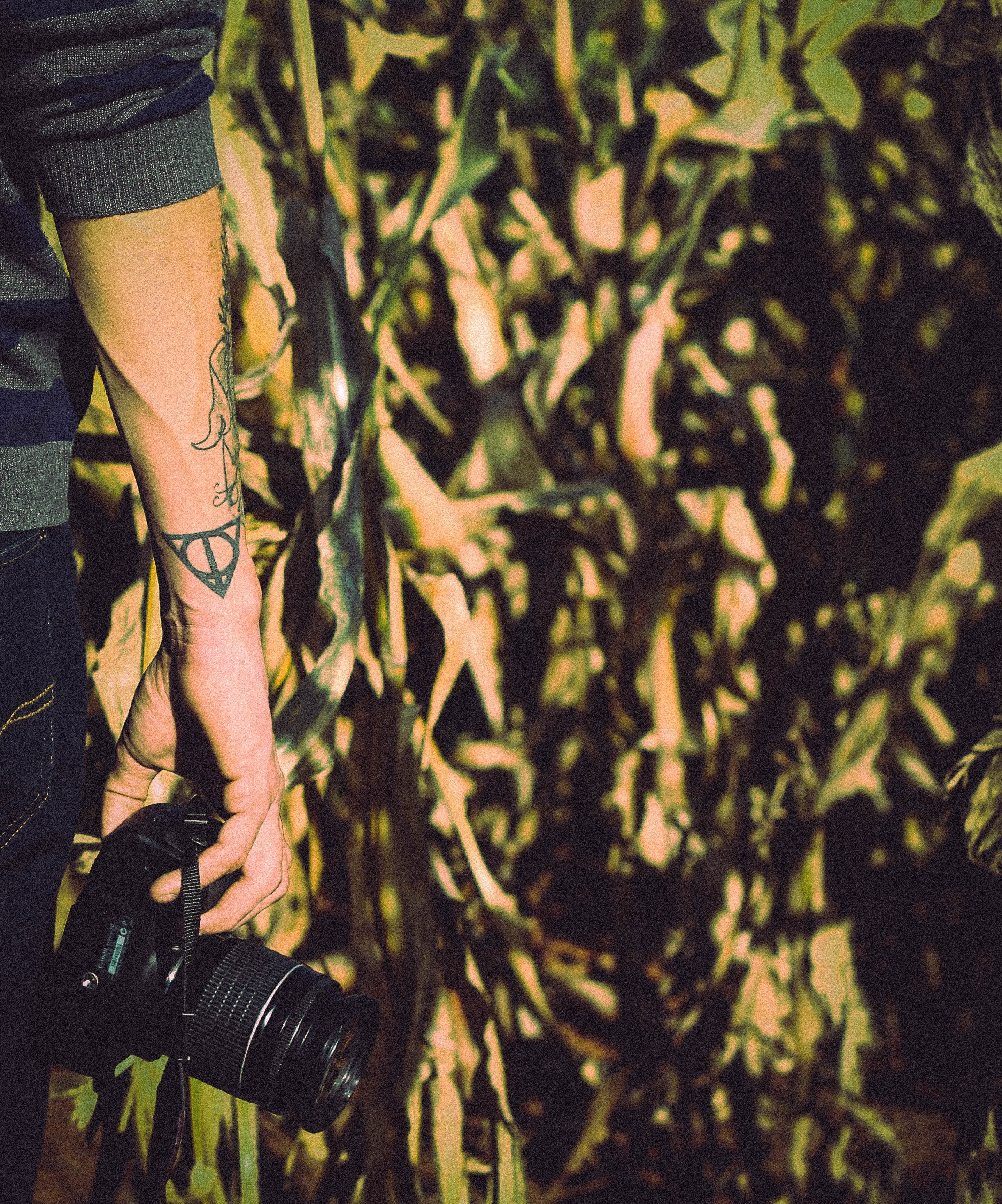 Tattooed photographer standing in front of a cornfield holding his DSLR camera in the sunshine