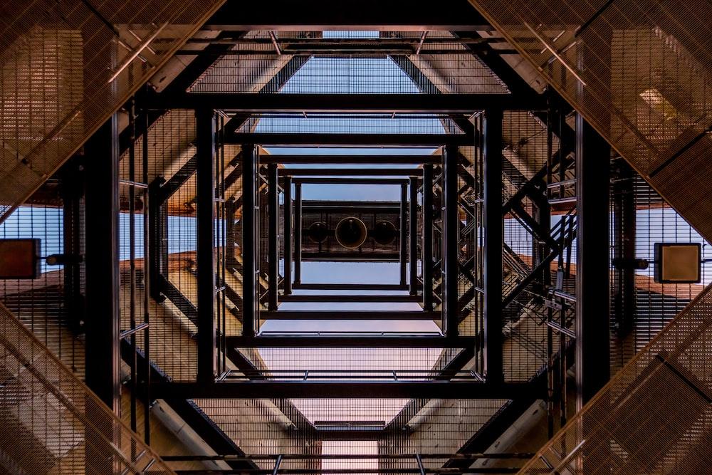low angle of black metal tower