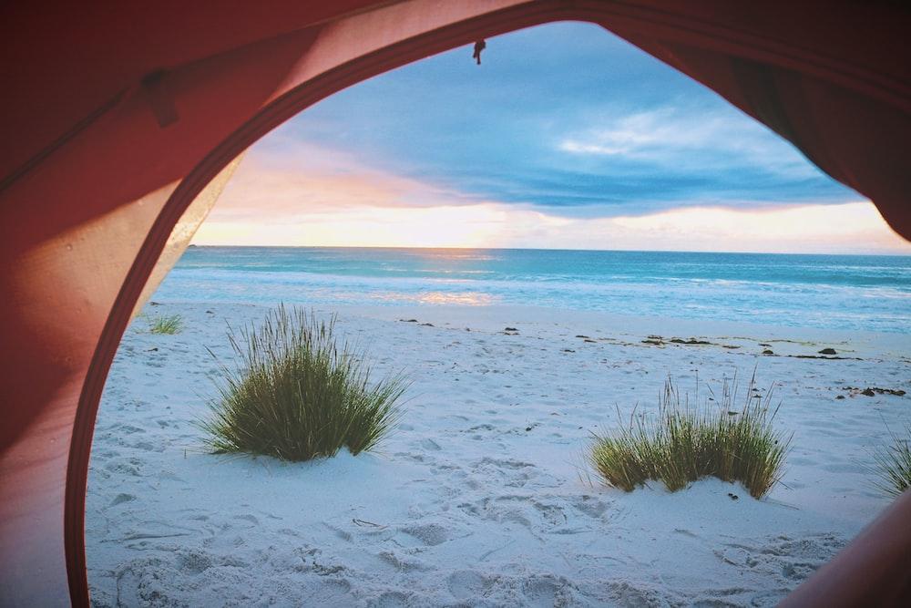 pink tent near white sand near sea