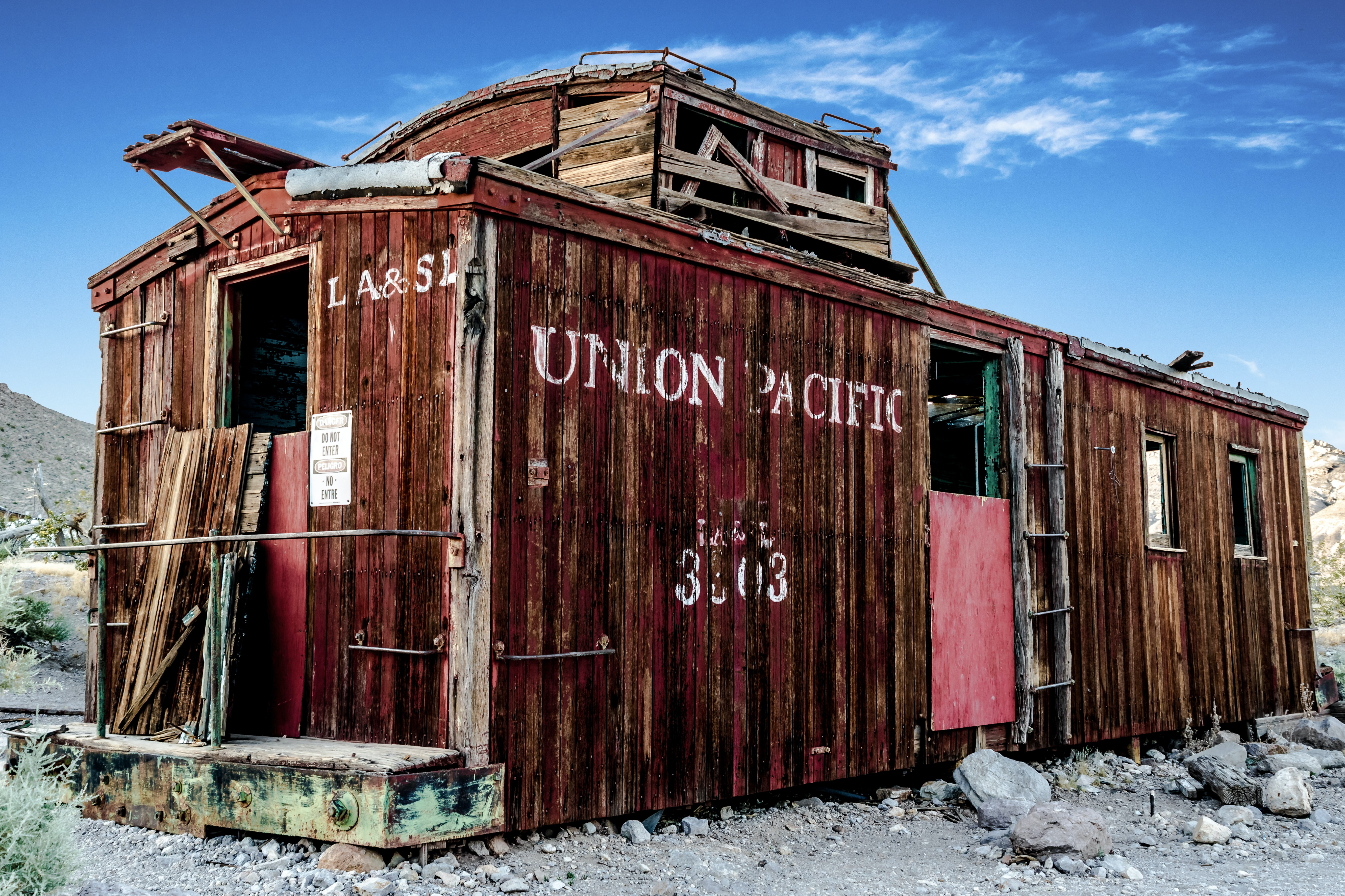 Old abandoned train car in the desert of Rhyolite