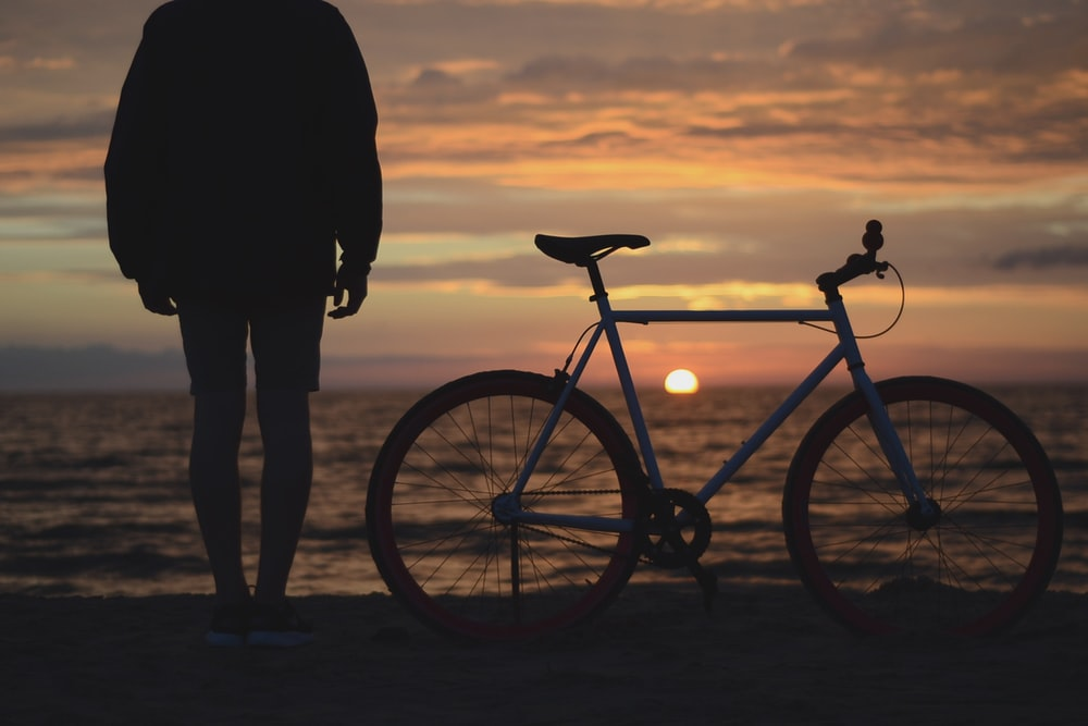 person and bicycle looking out at a sunset
